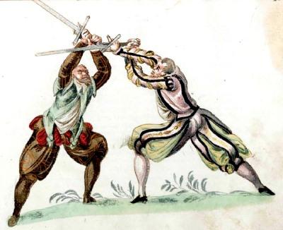 """Fechtbuch """"Gründtliche Beschreibung der Kunst des Fechtens"""" von Joachim Meyer um 1570"""